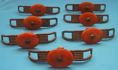 Vintage Art Deco DRAWER PULLS (Set of 7) Butterscotch BAKELITE Dresser Handles