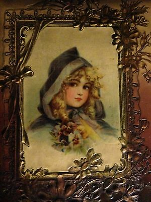 antique vicorian, edwardian celluloid photo album with beautiful girl on cover