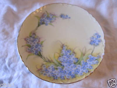 Vintage Hand Painted Blue & Yellow Flowers China Cabinet Plate Signed Bavaria