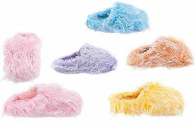 Pink Blue Purple Yellow Furry Fuzzy Slippers NEW with Marks on Soles PLEASE READ