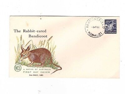Australia 1961 11d Bandicoot on WCS FDC, cds BEACONSFIELD NSW