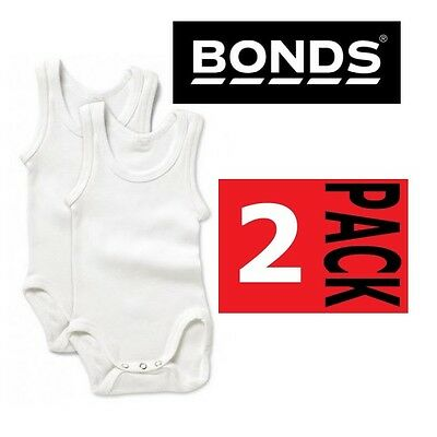 2 PACK x NEW BONDS BABY WHITE BODYSUIT Singletsuit Jumpsu Singlet Underwear Kids