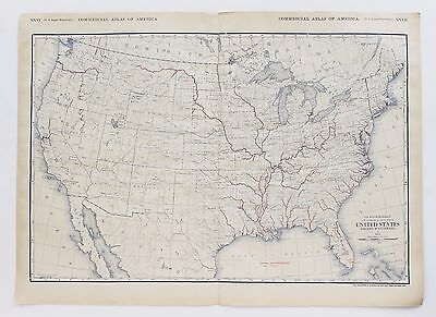 1913 United States Map Inland Waterways Rivers Large Double Page Original RARE
