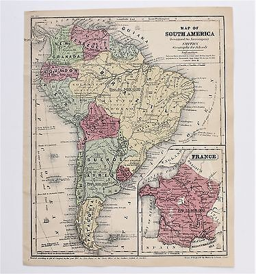 1843 South America Map Amazon River Patagonia Brazil Guiana Granada ORIGINAL