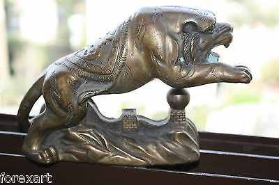 """Old Antique Chinese Bronze Tiger Stamped Green Patina Gorgeous Home Bar Decor 7"""""""