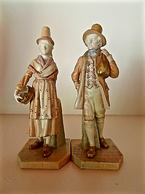 Royal Worcester Blush Shot Enamel Figures Welsh Man & Girl a Pair #1875