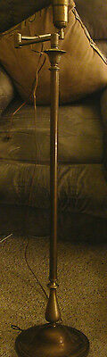 Antique Vintage SWING ARM FLOOR LAMP FULL CAST IRON BASE WEIGHT brass and metal