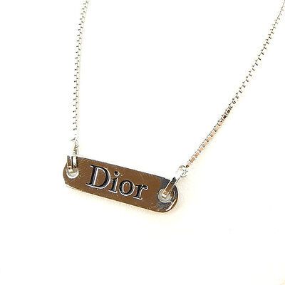 Auth Christian Dior Necklace with logo Plate used G1055