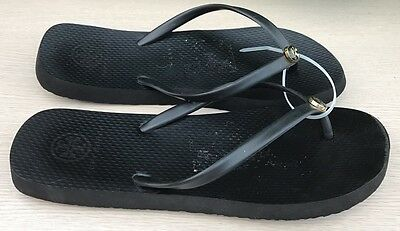 9751f36cf935 Tory Burch Logo Thong Flip Flops Thin Rubber Sandals Gold Size 8 Black