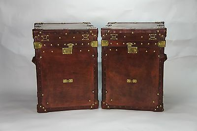 Antique Inspired Pair Of Camapign Chests Trunks