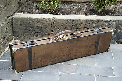 Beautiful Vintage English Leather Brass Cornered Gun Case No Initials 30.5""