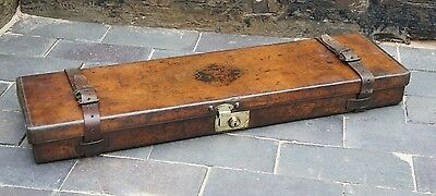 "Superb Antique Leather Shotgun Case 30.5"" Barrel Hunting Cartridge Case"
