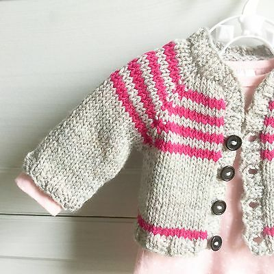Hand Knitted Newborn 0-3 months 0000 Baby Girl Clothes Jumper Cardigan, Aus Wool