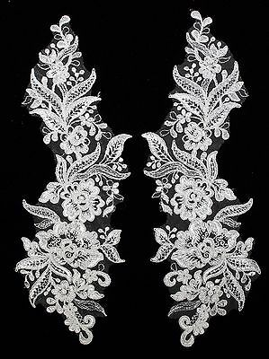2 X Bridal Lace Applique Floral Corded Wedding Motif Size:33cm x11.5cm Cream #23