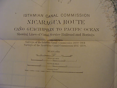 Early 1900's Original chart/map ISTHMIAN CANAL: NICARAGUA ROUTE plate 47