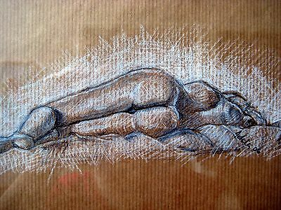 "Female nude,original drawing on brown paper,framed,old gold colour frame,14""x14"""