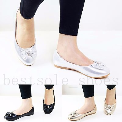 Womens Ladies Diamante Bow Flats Loafers Trainers Plimsolls Pumps Shoes Size