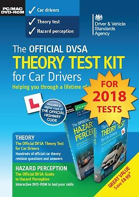 Official DVSA Theory Test Kit for Car Drivers-PC and Mac BRAND NEW 2018 EDITION