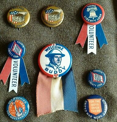 Vintage COLLECTION OF EIGHT WW1 Liberty LOAN Welcome Home  BUTTONS PINS