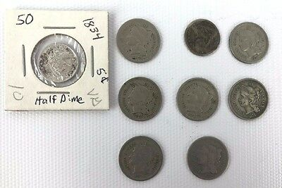 Bundle Lot of 9 Coins Three Cent Nickels & Half Dimes 1834 1875 1853 1865 1866