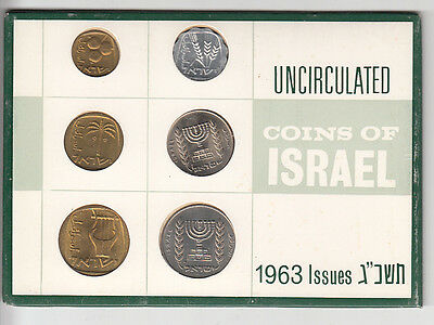 Coins of Israel 1963 Mint Set 6 Coins, Uncirculated Private Issue
