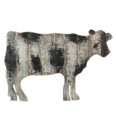 """Country Cottage Farmhouse Barn - Hanging Distressed Slat Wood Cow Wall Art 24"""""""