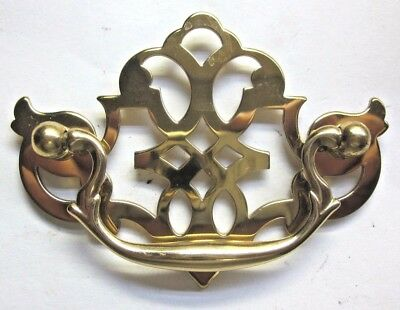 """1 shiny solid brass fancy ornate dresser drawer drop bail pull handle holes=3""""CC"""