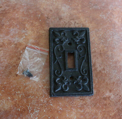 Cast Iron Single Switch Plate Cover Old World Rustic fleur-de-lis design Outlet