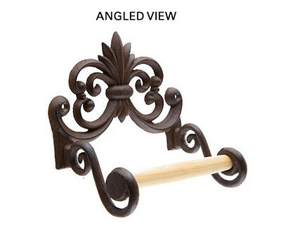 Cast Iron Toilet Paper Roll holder Wall Mount Fleur de lis with wood dowel
