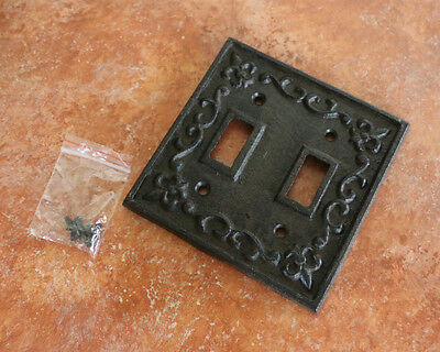 Cast Iron Double Switch Plate Cover Old World Rustic fleur-de-lis Carved 3-D
