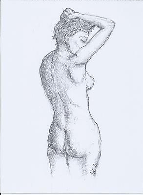 Original female nude drawing,Pencil drawing on paper,Standig nude,Australian art