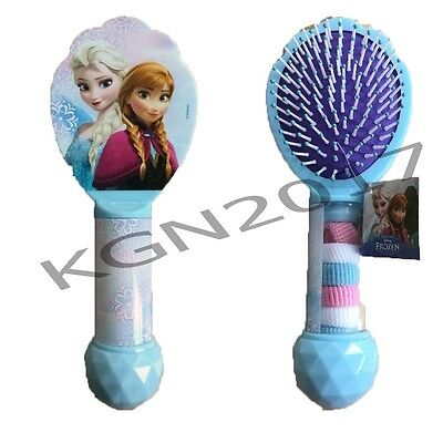 Kids Girls Fun Disney Frozen Hair Brush With 6 Hair Bobbles