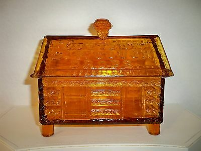Vintage LUTTED'S S.P. Cough Drops Amber Glass Log Cabin Jar Store Display