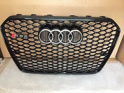 Audi A5 RS5 S5 Grille All Black, Chrome Rings 2012-2015