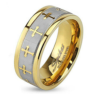 Stainless Steel Mens 8 MM Yellow Gold Plated Celtic Cross Wedding Band Ring 9-13