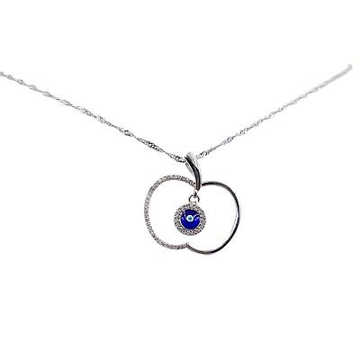 "18"" Evil Eye Apple Sterling Silver Necklace & Pendant w/ Zirconia Crystal  #9676"