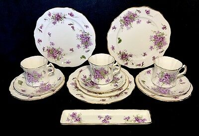 Hammersley Victorian Violet Tea Set For 3 With 2 Size Plates 13 Pieces England