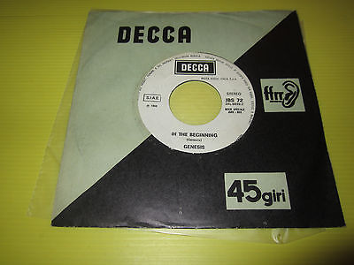 Genesis: In The Beginning /kansas City Promo Decca Jbs 72 Ex 1972 Italy Only
