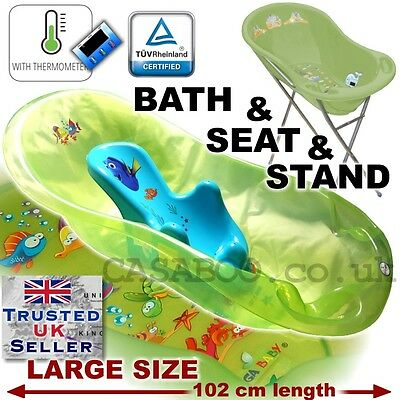 SET LARGE Lux 102cm length Baby Bath Tub with STAND + seat &THERMOMETHER AqGreen