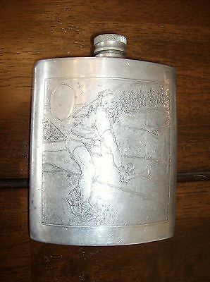 Sheffield Rose English Pewter Male & Female Tennis Match Hip Flask