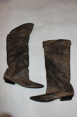 Vintage 80s NEW WAVE Scrunched KNEE HIGH ACID WASH Pixie PIRATE BOOTS 6 / 37 Rad