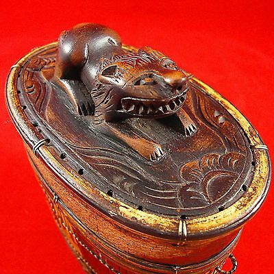 Vintage Unique Hand-Made Bag/Box w Carved Decorative Animal Top