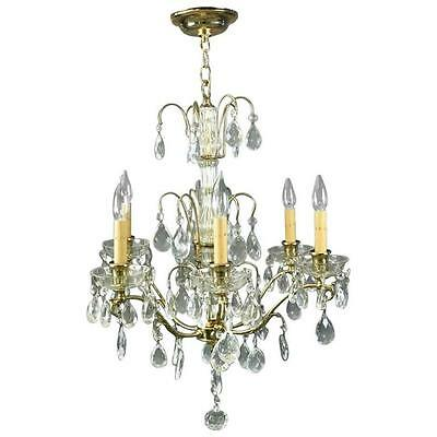 Vintage French Six-Light Bronze and Cut Crystal Chandelier, circa 1950