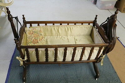 Antique Wood Bassinet Baby Cradle Swing Automatic Key Wind RARE!