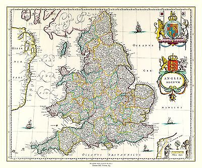 "England and Wales  1635 by Blaeu: 30"" x 20"" Photographic Poster Print"