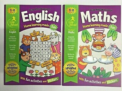 LeapAhead English Maths Home Learning 2 Educational Workbooks Age 5-6 KS1 Year 1