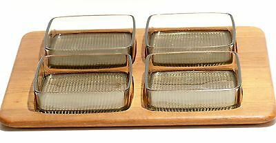 Digsmed Mid Century Modern Teak Tray w/ 4 Smoked Glass Bowls Servers Denmark