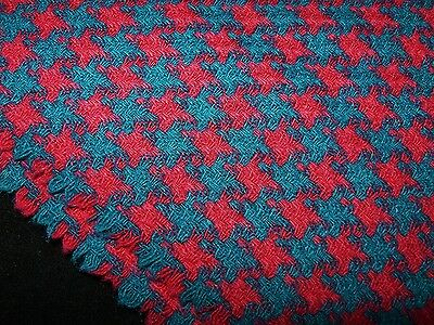 """3.5+ Yds Vintage WOOL Houndstooth Fabric 130"""" x 56"""" Turquoise Blue Fuchsia"""