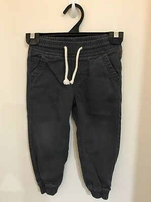 Pre-loved Boys size 3 Grey Cotton Pants for Play with Elastic Waist