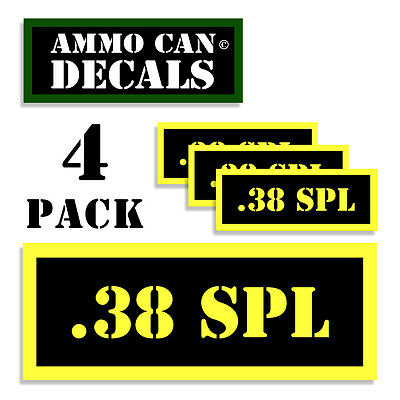 """38 SPECIAL Ammo Can LABELS STICKERS DECALS 4 pack Extra-Small YW MINI 1.5/""""x0.05/"""""""